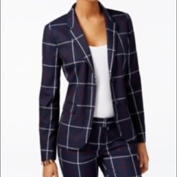 52849fb0 Tommy Hilfiger Jackets & Coats | Navy Window Pane Plaid Blazer C010 ...